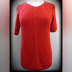 NWT Talbots Orange Red Metallic Gold Sweater